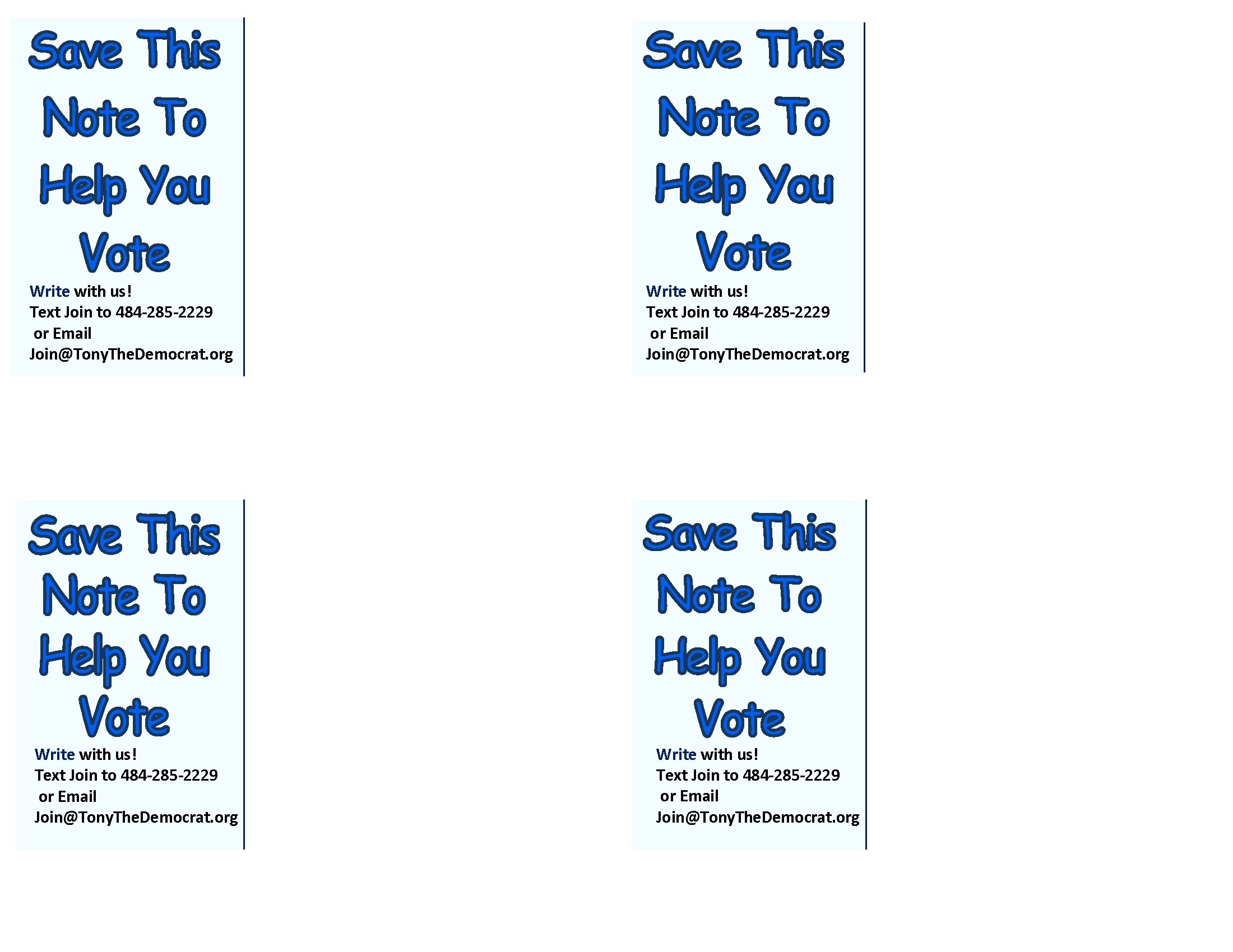 Save This Note to Help You Vote